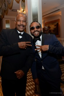 Professor Sir Hilary Beckles and awardee Machel Montano