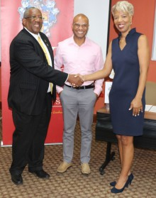 (L-R)  Professor Dale Webber, UWI Mona Principal, Dr. Ty Richardson, Chair of YoPro Foundation and Celia Davidson Francis, Director of Alumni Relations for The UWI celebrate the launch of the Soft and Life Skills Series. – a part of the Pelican Perks Adva
